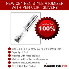 New CE4 Pen Style Atomizer with pen clip - Slivery - http://www.cigarettedutyfree.com/english/new-ce4-pen-style-atomizer-with-pen-clip-slivery.html  #CigaretteDutyFree #Cigarettes #Cigar #Cigars #CE4PenStyleAtomizer