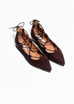 & Other Stories image 2 of Pointy Suede Lace-Up Flats in Burgundy