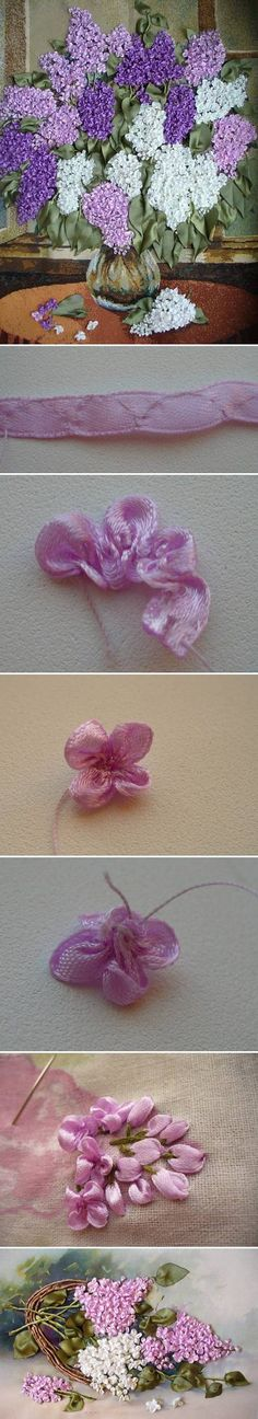 DIY Fabric Lilac Flowers bordado com fita