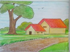 Landscape Drawing For Kids, Basic Drawing For Kids, Scenery Drawing For Kids, Landscape Pencil Drawings, Drawing Lessons For Kids, Crayon Drawings, Drawing Tutorials For Kids, Easy Drawings For Kids, Oil Pastel Drawings