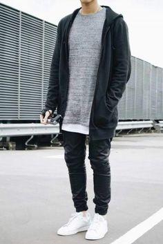 Suéter gris para caballero con franela long