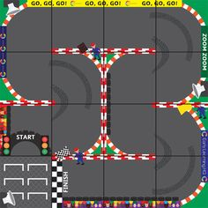 A printable programmable robot mat depicting a racing track. It is ideal to use in all manner of fun and engaging early years activities at home or in your school or early years setting. Stem Robotics, Programmable Robot, Early Years Maths, Infant Lesson Plans, Dash And Dot, Coding For Kids, Project Based Learning, Science, Early Learning