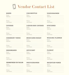 A Printable Vendor Contact list #vendorlist #amontanawedding
