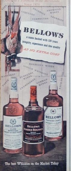 Bellow s Whiskey  print ad  Rare 50 s Color Illustration  club special  partners choice  Mag  Art
