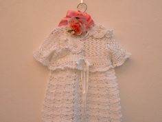 Christening dress sweater and crochet head band performed in