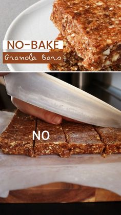 These easy no-bake granola bars are one of my favorite healthy snacks to prep on Sundays and then have on hand throughout the week. I like to keep them in the fridge, wrapped in foil, and grab one if I'm in need of a quick snack on the go. Click the link for this no bake homemade healthy recipe for delicious chewy granola bars. I make them with peanut butter and honey, and just the perfect amount of cinnamon. #healthysnacks #granolabars #homemade Granola Bar Recipe Honey, No Bake Granola Bars, Healthy Granola Bars, Chewy Granola Bars, Homemade Granola Bars, Fun Baking Recipes, Honey Recipes, Free Recipes, Vegan Recipes
