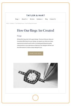 Website design for custom diamond engagement ring specialists Taylor & Hart