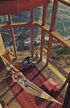 Windows with ocean view and indoor hammock & BABY♡ Beach Paradise, Architecture Design, Indoor Hammock, Room Hammock, Hammock Beach, Interior Exterior, Room Interior, Luxury Interior, Interior Ideas