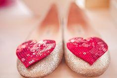 Heart sequin flats