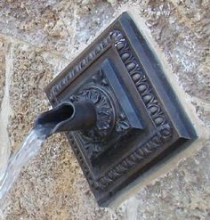 Alpha Backplate With Oak Leaf Scupper Fountain Spout www.finegardenproducts.com