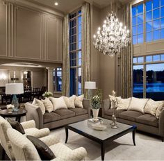 2 story living room with detailed moldings - perfect