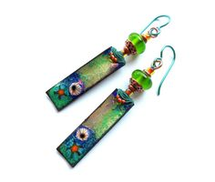 Lovely fairy-tale earrings with the glimmering depth and beauty of underwater gardens, by Two Trees Studio.