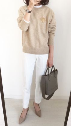 Mom Outfits, Winter Outfits, Fashion Outfits, Womens Fashion, Fashion Over 50, Daily Fashion, Uniqlo Women Outfit, Beige Outfit, Beige Sweater