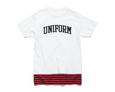 uniform experiment | PRODUCT | ARCH LOGO FAKE LAYERD HEM BORDER TEE