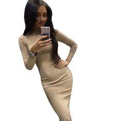 Women Long Sweater Dress 2017 Autumn Winter Sexy Office Slim Dresses Elastic Skinny Brief Knitted Dress Bodycon Vestidos Femme