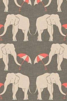 iPhone Backgrounds- Elephants with umbrellas!
