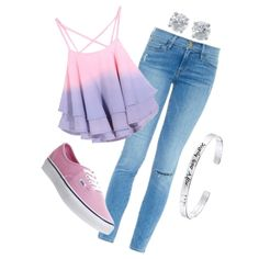 Untitled #202 by breautrey on Polyvore featuring polyvore fashion style Frame Denim Vans Tiffany & Co. Disney