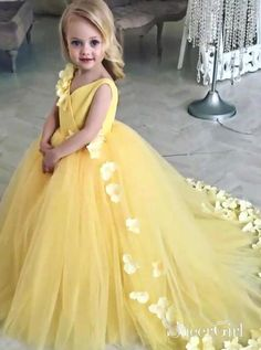 3D Applique Yellow Princess Ball Gown Flower Girl Dresses ARD1765-SheerGirl  Tulle Flower Girl a812f16cd6e7