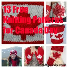 I know most people are probably thinking ahead to the Fourth of July, but just before we get to that holiday there's Canada Day. Whether you live in Canada or just are a fan of maple leaves a… Leaf Knitting Pattern, Knitted Mittens Pattern, Knit Mittens, Knitting Socks, Knitting Patterns Free, Free Knitting, Knitted Hats, Crochet Patterns, Crochet Ideas
