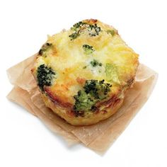 Broccoli casseroles -- Combine 2 cups dry pasta, 1 1/3 cups chopped broccoli, 1 egg, 2 Tbsp mozzarella cheese, 1 Tbsp parmesan cheese, and 1/4 tsp garlic salt. Fill cupcake pan wells 3/4 full with mixture. Distribute 1 cup heavy cream among wells and top each with bread crumbs. Bake at 350°F for 20 minutes.