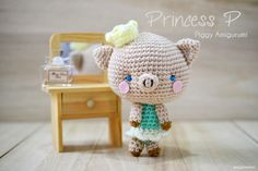 Piggy  the Princess P  (P for Peanut) - Free Amigurumi Pattern here: http://www.craftpassion.com/2014/06/piggy-amigurumi-princess-p.html/2