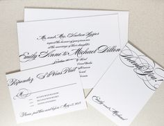 Printable Wedding Invitation  Calligraphy by encrestudio on Etsy
