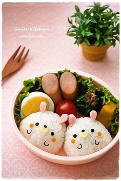 twins rabbit  onigiri bento