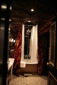 wonderful lux gothic bathroom decor 580x870 Gothic Bathroom Decor - Love the ceiling tile and recessed lighting