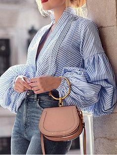 BeAvant Plaid V Neck Black Blouse Shirts Women Puff Sleeve Summer Blouse Tops 2018 Causal Striped Blue Blusas Tops Shirts Female It Bag, Chloe, Stripes Fashion, Fashion Outfits, Womens Fashion, Style Fashion, Diva Fashion, Fashion Spring, Fashion Brands
