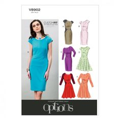 Vogue Ladies Easy Sewing Pattern 8902 Fitted Dresses with Cup Sizes | Sewing | Patterns | Minerva Crafts