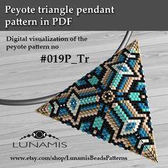 Peyote triangle patterns, pattern for triangle pendant, peyote patterns, beading, peyote stitch, digital file, pdf pattern #019P_Tr