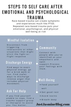 "Steps to Self Care after Emotional and Psychological Trauma - ""When people of color are exposed to repetitive acts of racism (racism has been shown to be processed in our brains as trauma) a kind of post traumatic stress syndrome can develop."""