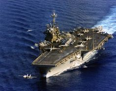 Forrestal Class USS Independence (CV-62) launches an F-14 Tomcat 10 Mar 1996