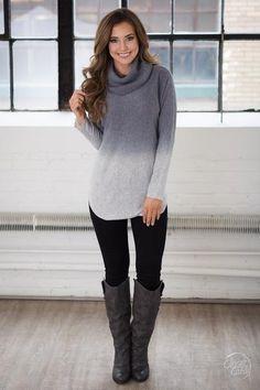 Snow Days Cowl Neck Sweater - Grey