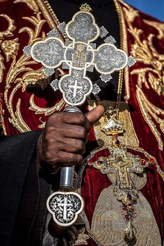Christian Coptic Orthodox Cross in the hands of a priest.