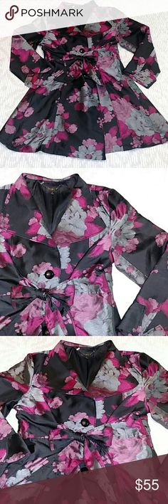 "🎀Jerry T Floral Jacket🎀 🌹BRAND: Jerry T 🌹SIZE: L 🌹COLOR: Black, Gray, Fuscia, Mauve 🌹MEASUREMENTS: B-42"" W-40"" L-37"" 🌹DESCRIPTION: Beautiful Silky Floral       patterned jacket by JerryT. Button down       front with tie at waist.  Excellent condition.       Very pretty and figure flattering! Jerry T Jackets & Coats"