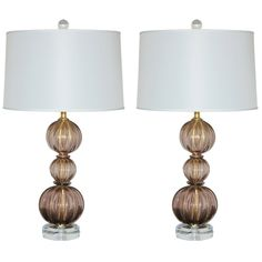 1stdibs.com | Amethyst Plum Stacked Three Ball Vintage Murano Lamps