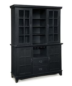 Love the style of this arts & crafts hutch.  Another great find on #zulily! Black Arts & Crafts Buffet & Hutch Set #zulilyfinds desk