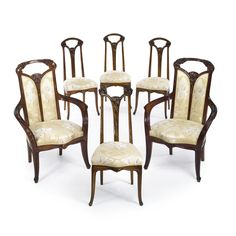 """Louis Majorelle SET OF SIX """"OMBELLE"""" CHAIRS mahogany and fabric upholstery, ca. 1900."""