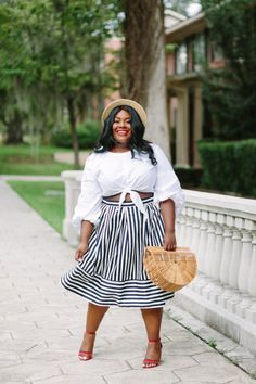 Musings of a Curvy Lady, Plus Size Fashion, Fashion, Fashion Blogger, Striped Skirt, Parisian Inspired Style, Summer Fashion, Women's Fashion, Boater Hat, Pink Peonies, Simply Be, Just Fab, Ashley Stewart, ASOS