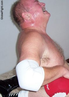 sweaty big thick neck manly bear wrestling home webcam