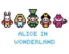 Alice In Wonderland Cross Stitch Beaded Cross Stitch, Modern Cross Stitch, Cross Stitch Embroidery, Pearler Bead Patterns, Perler Patterns, Disney Cross Stitch Patterns, Cross Stitch Designs, Perler Beads, Fuse Beads