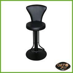 ART.0045  Sgabello per Videolottery: uno sgabello classico, ideale per sala slot. Sgabello ergonomico con schienale e sedile imbottito, ideale per rimanere seduti a lungo in posizione di gioco. Uno sgabello, rivestito in similpelle nera, per slot machine con struttura in acciaio e una qualità di seduta assolutamente avanzata, con poggiapiedi e rotazione di 360° con ritorno. Un indispensabile complemento d'arredo di sale da gioco e sale slot. Altezza sgabello 73 cm.