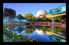 Epcot and Tron Monorail---so apropos!!!!  Why yes, it does belong to the Tron family!! :)