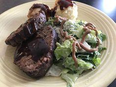 Meatloaf with mashed potatoes and Greek salad Foodspotting at Beyond Food