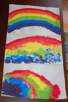 St. Patrick's Day Art: Our First Rainbows - In Lieu of Preschool