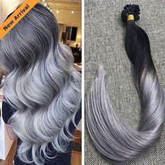 Flat-tip Balayage Natural Black with Silver Grey Human Hair Pre-bonded Extension #Ugeat #Balayage #flat #hair #hairstyles #haircolor