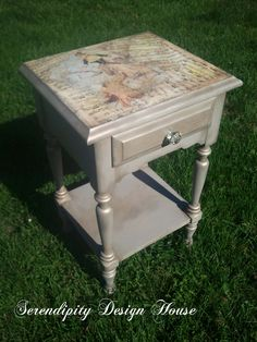 French inspired side table done in French Linen, dark wax, brushed gold, craqueleur, decopaged papers