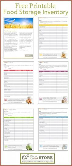 Printable Food Storage Inventory -how much food storage do I need? by coolnana Emergency Preparedness Food Storage, Emergency Preparation, Emergency Supplies, Emergency Food, Survival Food, Disaster Preparedness, Survival Prepping, Emergency Kits, Survival Skills