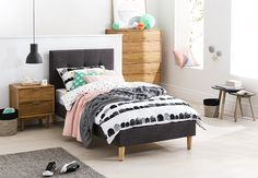 Love this fun and fresh kids room that's packed full of style. Bedroom furniture pictured here available at Forty Winks.